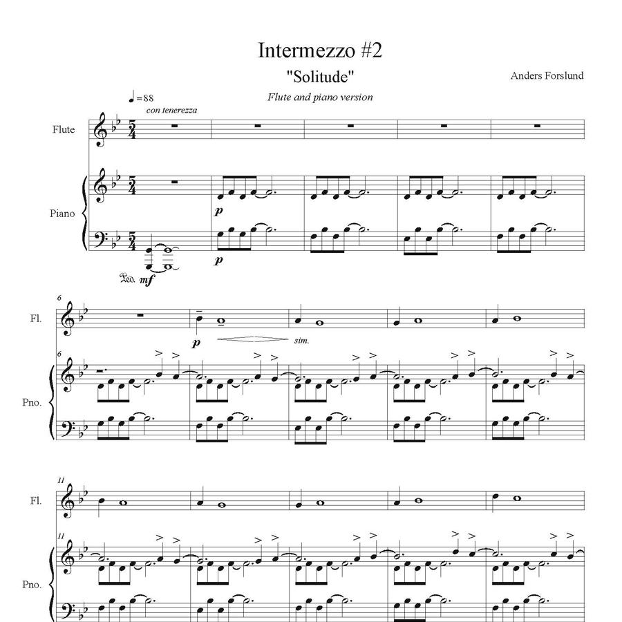 """Intermezzo #2 """"Solitude"""" (Flute And Piano Version, 6 Page Digital Download)"""