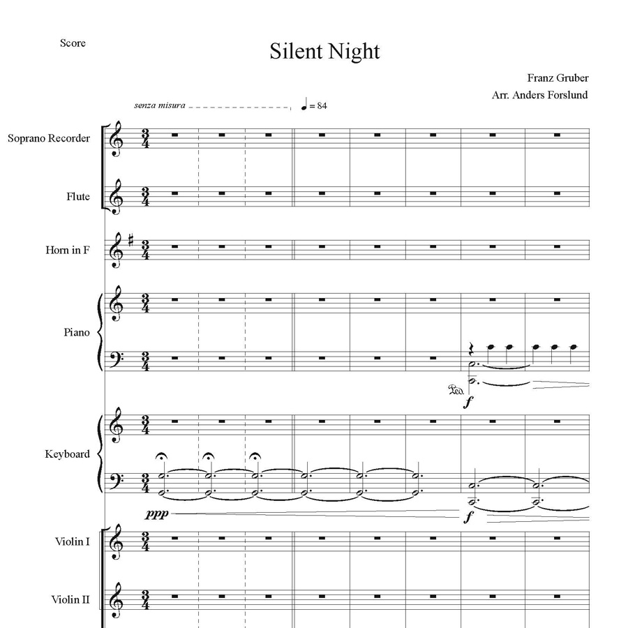 Silent Night (arr.) (for Chamber Orchestra, 36 Page Digital Download Including The Full Score And All Parts.)